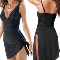 Sexy Backless V-neck Slit Hem One-piece Swimsuit