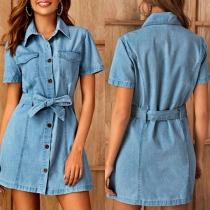 Fashion Short Sleeve POLO Collar Denim Dress