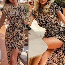 Fashion Short Sleeve Round Neck Irregular Hem Leopard Printed Dress