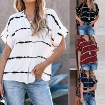 Fashion Short Sleeve V-neck Striped Shirt