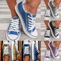 Fashion Flat Heel Round Toe Lace-up Canvas Shoes