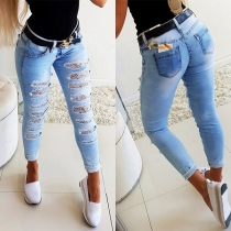 Fashion High Waist Slim Fit Lace Spliced Ripped Jeans