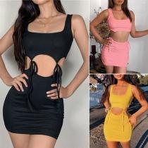 Sexy Sleeveless Crop Top + High Waist Skirt Two-piece Set