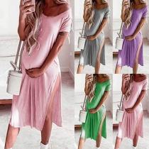 Fashion Solid Color Short Sleeve V-neck Slit Hem Maternity Dress