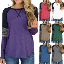Fashion Striped Spliced Long Sleeve Round Neck Contrast Color T-shirt