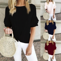 Fashion Solid Color Lotus Sleeve Knotted Hem Round Neck T-shirt