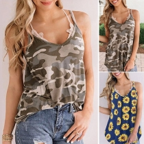 Sexy Backless V-neck Printed Sling Top