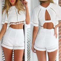 Sexy Backless Tassel Hem Crop Top + Shorts Two-piece Set