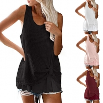 Fashion Solid Color Sleeveless Round Neck Knotted Hem Loose Top