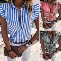 OL Style Lotus Sleeve POLO Collar Striped Shirt
