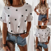 Fashion Short Sleeve Round Neck Star Printed T-shirt