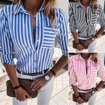 OL Style Long Sleeve POLO Collar Striped Shirt