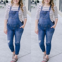 Fashion High Waist Ripped Maternity Denim Overalls