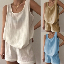 Simple Style Solid Color Round Neck Tank Top + Shorts Two-piece Set