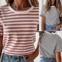 Fashion Short Sleeve Round Neck Striped T-shirt