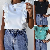 Fashion Solid Color Sleeveless Round Neck Ruffle Top