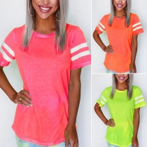 Fashion Contrast Color Short Sleeve Round Neck T-shirt