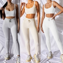 Sexy Backless Sling Sports Tank Top + High Waist Leggings Sports Two-piece Set