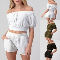 Sexy Off-shoulder Boat Neck Short Sleeve Crop Top + Shorts Two-piece Set