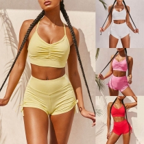 Sexy Backless V-neck Sling Crop Top + High Waist Shorts Two-piece Set