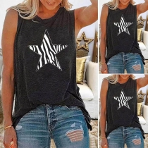 Casual Style Star Printed Sleeveless Round Neck Loose T-shirt
