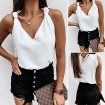 Sexy V-neck Solid Color Knotted Sling Top