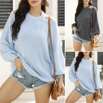 Sexy Off-shoulder Lantern Sleeve Solid Color Halter Sweater