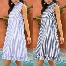 Fashion Sleeveless Ruffle Stand Collar Striped Dress