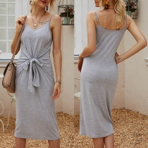 Sexy Backless V-neck Solid Color Lace-up Sling Dress