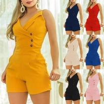 Fashion Solid Color Sleeveless V-neck High Waist Slim Fit Romper