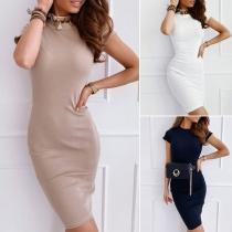 Elegant Solid Color Short Sleeve Round Neck Slim Fit Dress