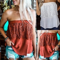Sexy Strapless Lace Spliced Solid Color Top