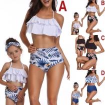 Sexy Backless Ruffle Bikini Top + High Waist Briefs Parent-child Bikini Set