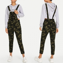 Fashion High Waist Camouflage Printed Overalls