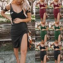 Sexy Backless V-neck Slit Hem Sling Maternity Dress