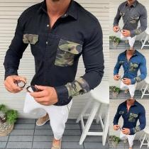 Fashion Camouflage Spliced Long Sleeve POLO Collar Man's Denim Shirt