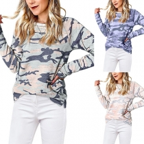 Fashion Long Sleeve Round Neck Camouflage Printed T-shirt