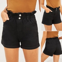 Fashion Ruffle High Waist Denim Shorts