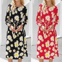 Fashion Solid Color Long Sleeve Round Neck Daisy Printed Dress