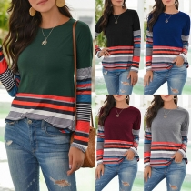 Fashion Striped Spliced Long Sleeve Round Neck T-shirt
