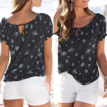 Fashion Short Sleeve Round Neck Printed T-shirt