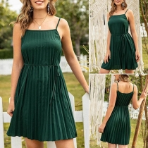 Sexy Backless Solid Color Sling Pleated Dress