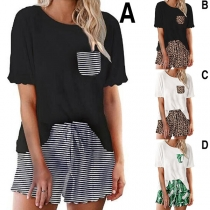 Fashion Short Sleeve Round Neck T-shirt + Shorts Two-piece Set