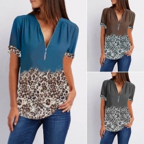 Fashion Printed Spliced Short Sleeve Zipper V-neck Top