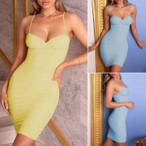 Sexy Backless V-neck Solid Color Slim Fit Sling Dress