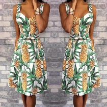 Sexy Backless V-neck High Waist Pineapple Printed Sling Dress