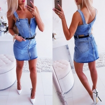 Sexy Backless Front-zipper Slim Fit Sling Denim Dress