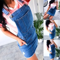 Fashion High Waist Slim Fit Ripped Denim Suspender Skirt