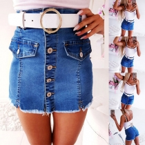 Fashion High Waist Frayed Hem Single-breasted Denim Culottes