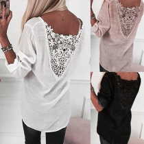 Sexy Hollow Out Lace Spliced Long Sleeve V-neck Top
